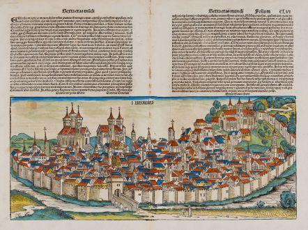 Antike Landkarten, Schedel, Deutschland, Thüringen, Erfurt, 1493: Erfordia