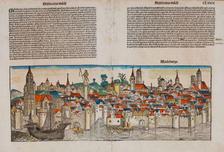 Antique Maps, Schedel, Germany, Sachsen-Anhalt, Magdeburg, 1493: Madeburga