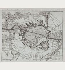 Plan de la Ville & Citadelle de Tournay Avec les lignes de Circonvalation: on y a joint aussi les Aproches, Batteries &c.