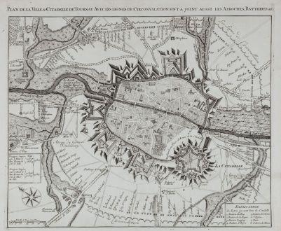 Antique Maps, Anonymous, Belgium, Tournai, Doornik, 1709: Plan de la Ville & Citadelle de Tournay Avec les lignes de Circonvalation: on y a joint aussi les Aproches, Batteries &c.