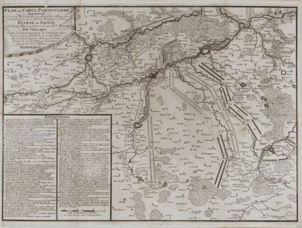 Antique Maps, van Call, France, Battle of Denain (Bataille de Denain), 1713: Plan, ou Carte Particuliere representant les divers Mouvements des Armees des Alliees, sous le Commandement de S. A. S....