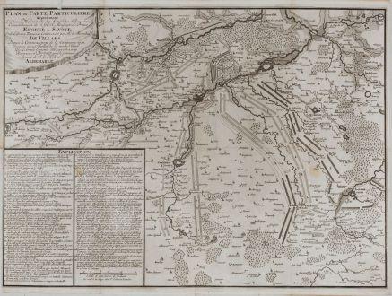 Antike Landkarten, van Call, Frankreich, Schlacht bei Denain, 1713: Plan, ou Carte Particuliere representant les divers Mouvements des Armees des Alliees, sous le Commandement de S. A. S....