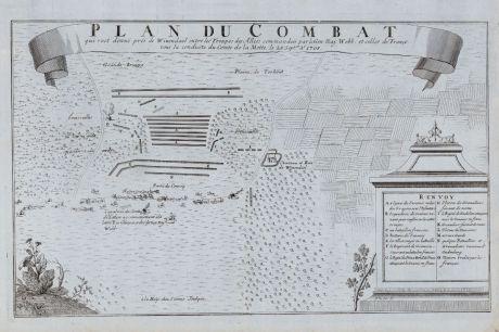 Antike Landkarten, van Call, Belgien, Wijnendale, 1729: Plan du Combat qui s'est donne pres de Winendael entre les Troupes des Allies commandees par le Gen. Maj. Webb et celles de...