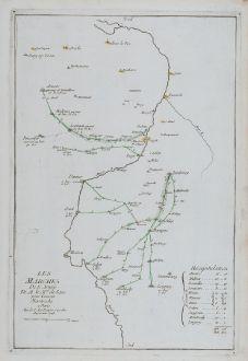 Antike Landkarten, le Rouge, Belgien, Limburg, Maastricht, Namur, 1748: Les marches de l'Armee de M le Mal. de Saxe pour Investir Mastricht