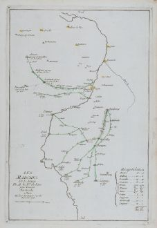 Antique Maps, le Rouge, Belgium, Limburg, Maastricht, Namur, 1748: Les marches de l'Armee de M le Mal. de Saxe pour Investir Mastricht