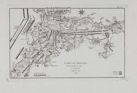Antike Landkarten, le Rouge, Belgien, Tongeren, 1746: Camps de Tongres
