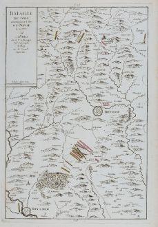 Antique Maps, le Rouge, Czechia - Bohemia, Soor, Trutnov, 1745: Bataille de Sohr remportée par le Roy de Prusse, le 30 7bre 1745