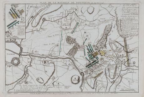 Antike Landkarten, le Rouge, Belgien, Tournai, Schlacht bei Fontenoy, 1745: Plan de la bataille de Fontenoy remportée le 11 mai 1745.