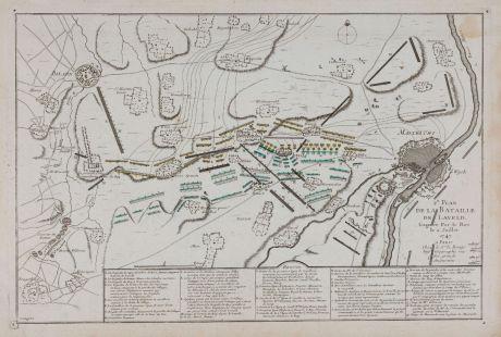 Antike Landkarten, le Rouge, Niederlande, Bilzen, Lafelt, Maastricht, 1747: 2e. Plan de la Bataille de Laveld. Gagnée Par le Roy le 2. Juillet 1747.