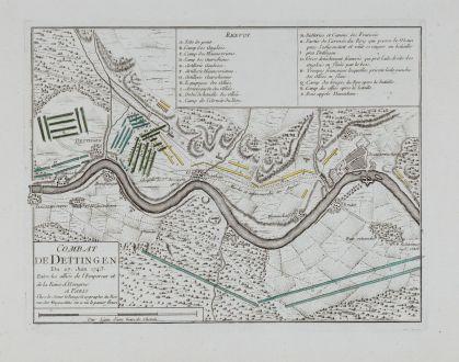 Antique Maps, le Rouge, Germany, Hesse, Dettingen, 1743: Combat De Dettingen Du 27. Juin 1743. Entre les allies de l'Empereur et de la Reine d'Hongrue A Paris Chez le sieur le Rouge...