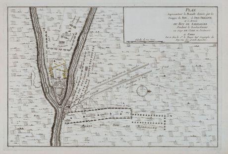 Antike Landkarten, le Rouge, Italien, Piemont, Cuneo, 1744: Plan Representant la Bataille donné par les Trouppes du Roy, de Don Philippe et L'Armee du Roy de Sardaigne Pendant le....