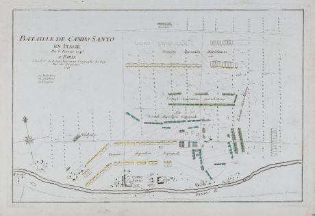 Antike Landkarten, le Rouge, Italien, Emilia-Romagna, Camposanto, 1746: Bataille de Campo Santo en Italie du 8 Fevrier 1743