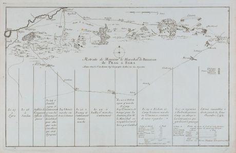 Antike Landkarten, le Rouge, Tschechien - Böhmen, Eger, Cheb, Prag, Praha, 1745: Retraite de Monsieur le Marechal Duc de Belleisle de Prag a Egra.