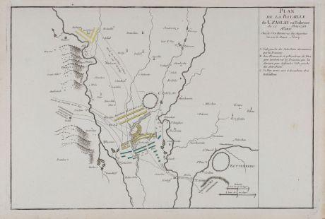 Antique Maps, le Rouge, Czechia - Bohemia, Caslav, Czaslau, 1745: Plan de la Bataille de Czaslau en Boheme du 17 May 1742.