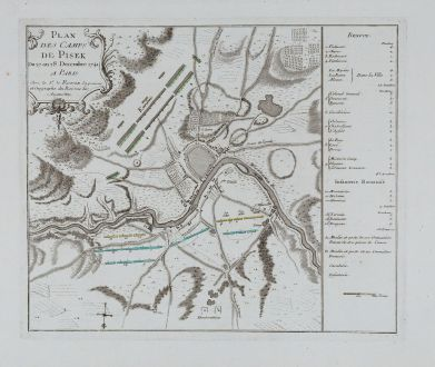 Antique Maps, le Rouge, Czechia - Bohemia, Pisek, 1745: Plan des Camps de Pisek du 27 an 28 Decembre 1741.