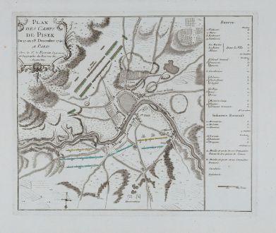 Antike Landkarten, le Rouge, Tschechien - Böhmen, Pisek, 1745: Plan des Camps de Pisek du 27 an 28 Decembre 1741.