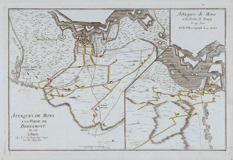 Antike Landkarten, le Rouge, Belgien, Mons, 1746: Attaques de Mons a la Porte de Bertamont 1746 / Attaques de Mons a la Porte de Nimy le 24 Juin et la Ville a Capitule le 10...