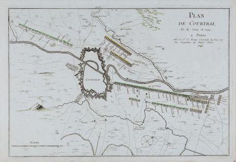 Antique Maps, le Rouge, Belgium, Kortrijk, Courtrai, 1745: Plan de Courtrai, et du Camp de 1744