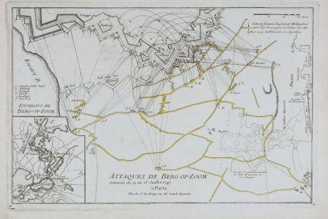 Antique Maps, le Rouge, Netherlands, Bergen op Zoom, 1746: Attaques de Berg-op-Zoom comencées du 14 au 15 Juillet 1747.