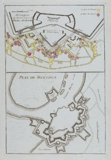 Antique Maps, le Rouge, Netherlands, Heusden, Bergen op Zoom, 1746: Attaques du Chemin Couvertde Berg-op-Zoom / Plan de Heusden.