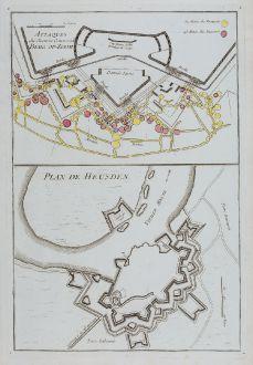 Antike Landkarten, le Rouge, Niederlande, Heusden, Bergen op Zoom, 1746: Attaques du Chemin Couvertde Berg-op-Zoom / Plan de Heusden.
