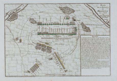 Antique Maps, le Rouge, Poland, Malujowice, 1745: Plan de la Bataille de Molwitz du 10 Avril 1741.