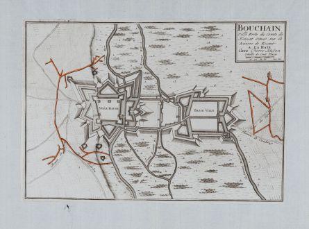 Antike Landkarten, Fricx, Frankreich, Bouchain, 1712: Bouchain Ville Forte du Comte de Hainaut Situee sur la Riviere de Escaut