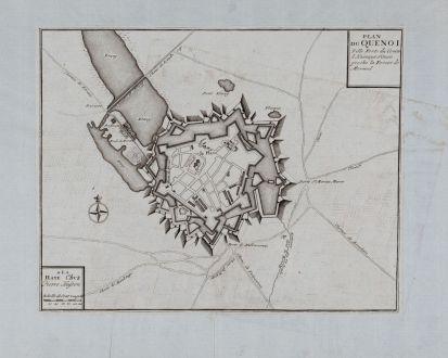 Antike Landkarten, Fricx, Frankreich, Le Quesnoy, 1712: Plan Du Quenoi Ville Forte du Comte d Kainaut Situee proche la Forest de Mormal