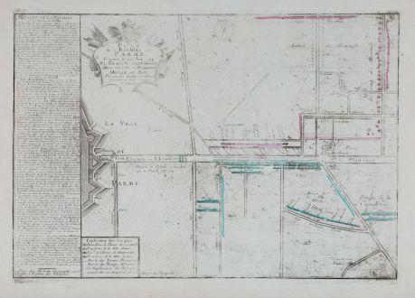 Antike Landkarten, Nolin, Italien, Parma, 1745: Plan de la bataille de Parme, gagnee le 29. Juin 1734