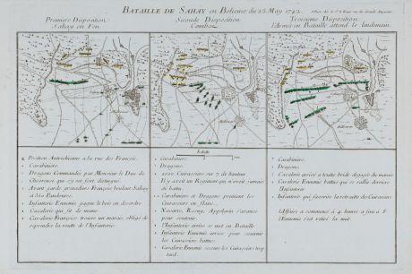 Antique Maps, le Rouge, Czechia - Bohemia, Sahaj, Zahaji, 1745: Bataille de Sahay en Boheme du 25 May 1742.