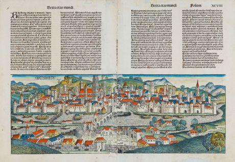 Antike Landkarten, Schedel, Deutschland, Bayern, Oberpfalz, Regensburg, 1493: Ratisbona