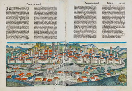 Antique Maps, Schedel, Germany, Bavaria, Oberpfalz, Regensburg, 1493: Ratisbona
