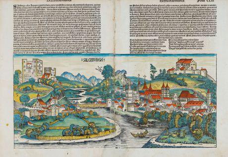 Antike Landkarten, Schedel, Österreich - Ungarn, Salzburg, 1493: Salczburga (Salczbvrga)