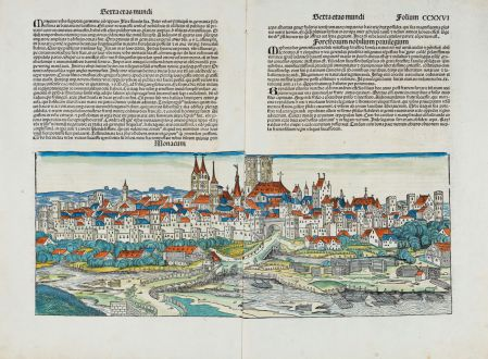 Antique Maps, Schedel, Germany, Bavaria, Munich, München, 1493: Monacum
