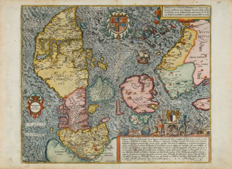 Antike Landkarten, Braun & Hogenberg, Dänemark, 1585 [1588]: Danorum Marca, vel Cimbricum, aut Daniae regnum...