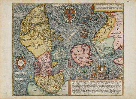 Antique Maps, Braun & Hogenberg, Denmark, 1585 [1588]: Danorum Marca, vel Cimbricum, aut Daniae regnum...
