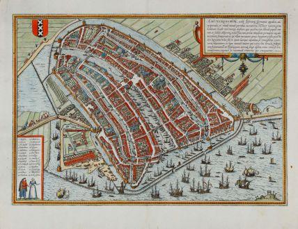 Antike Landkarten, Braun & Hogenberg, Benelux, Niederlande, Amsterdam, 1574: Amstelredamum, Nobile Inferioris Germaniae Oppidum...
