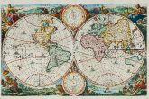 Kolorierte antike Weltkarte. Gedruckt in Amsterdam um 1680.