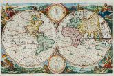 Antique map of the world. Printed in Amsterdam circa 1680.
