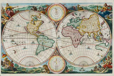 Antike Landkarten, Stoopendaal, Weltkarten, 1680: Werelt Caert