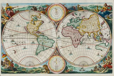 Antique Maps, Stoopendaal, World Maps, 1680: Werelt Caert