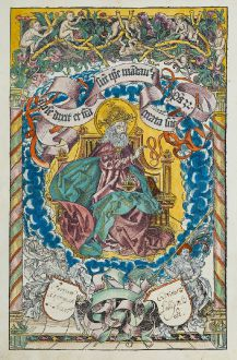 Grafiken, Schedel, Gottvater thront, 1493: [God the Father on a throne]