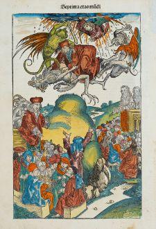 Grafiken, Schedel, Teufel, Drachen, Apokalypse, Armageddon, 1493: [Armageddon, Apocalypse] Septima etas mundi