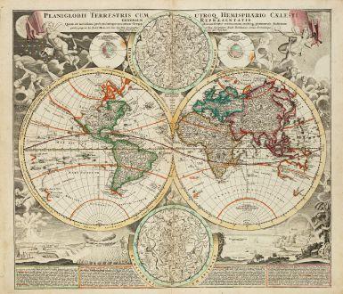 Antike Landkarten, Homann, Weltkarten, 1720: Planiglobii Terrestris cum utroq Hemisphaerio Caelesti Generalis Repraesentatio