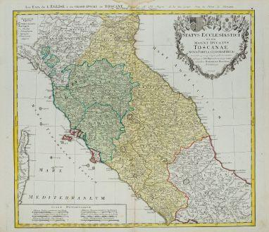 Antike Landkarten, Homann Erben, Italien, Toskana, Latium, Umbrien, Marken, 1748: Status Ecclesiastici nec non Magni Ducatus Toscanae Nova Tabula Geographica ...