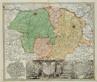 Antike Landkarten, Homann Erben, Italien, Emilia-Romagna, Parma, 1731: Status Parmensis sive Ducatus Parmensis et Placentinus una cum Ditione Buxetana et Valle Tarae