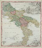Old coloured map of Molise, Campania, Basilicata, Puglia, Calabria. Printed in Nuremberg by Johann Baptist Homann circa 1720.