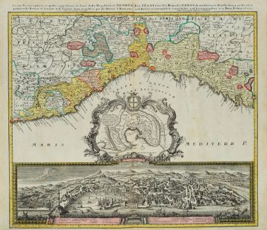 Antike Landkarten, Homann Erben, Italien, Genua, Genova, 1743: Carta Geographica, la quale rappresenta lo Stato della Republica di Genova / Der Staat von der Republic Genova