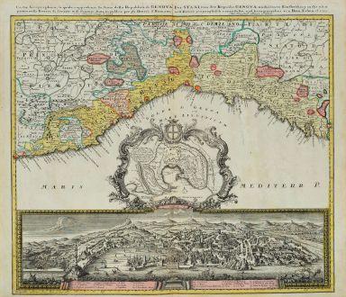 Antique Maps, Homann Erben, Italy, Genoa, Genova, 1743: Carta Geographica, la quale rappresenta lo Stato della Republica di Genova / Der Staat von der Republic Genova