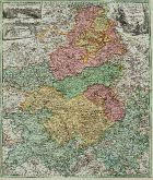 Old coloured map of the Champagne-Ardenne. Printed in Nuremberg by J.B. Homann circa 1720.